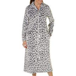 Coral Bay Womens Leopard Zip Robe