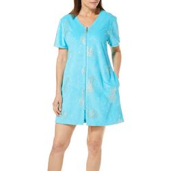Coral Bay Womens Pineapple Print Short Sleeve Terry Robe