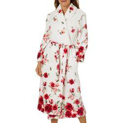 Coral Bay Womens Rose Print Plush Robe