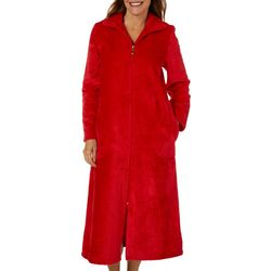 Coral Bay Womens Solid Beehive Zippered Robe