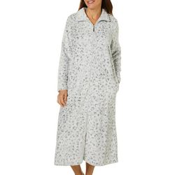 Coral Bay Womens Snow Leopard Zippered Robe