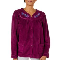 Jasmine Rose Womens Embroidered Plush Snap Jacket Robe