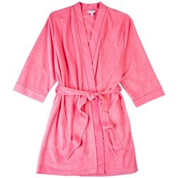 Coral Bay Womens Solid Terry Wrap Sash Waist Robe