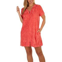 Womens Hibiscus Zip Up Bath Robe