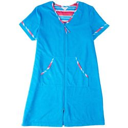 Coral Bay Womens Striped Trim Zip Terry Robe