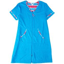 Womens Striped Trim Zip Terry Robe