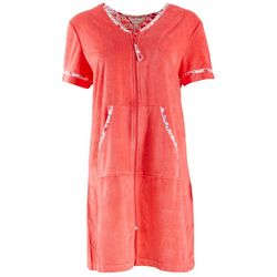 Coral Bay Womens Flamingo Trim Plush Robe