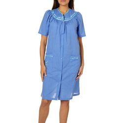 Jasmine Rose Womens Floral Chambray Duster Robe