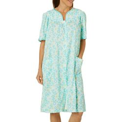 Jasmine Rose Womens Floral Print Blister Knit Zip Up Robe