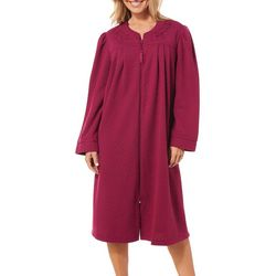 Jasmine Rose Womens Paisley Embroidered Double Knit Robe