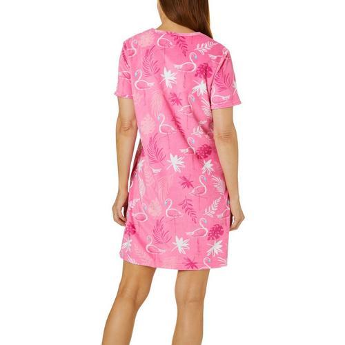 9ace8fbeba7 Coral Bay Womens Flamingo Print Short Sleeve Terry Robe