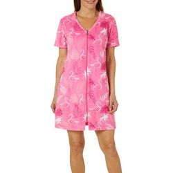 Coral Bay Womens Flamingo Print Short Sleeve Terry Robe