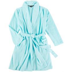 Womens Solid Terry Wrap Kimono Robe