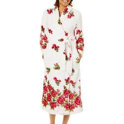 Coral Bay Womens Rose Border Plush Robe