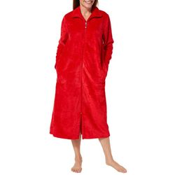 Coral Bay Womens Beehive Plush Zip-Up Robe