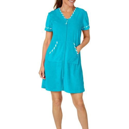 3228644ddb Coral Bay Womens Stripe Trim Zip Terry Robe