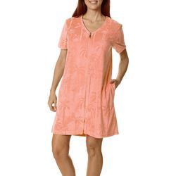 Coral Bay Womens Embossed Palm Short Sleeve Terry Robe