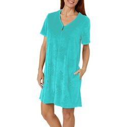 Coral Bay Womens Embossed Pineapple Zip Up Bath Robe