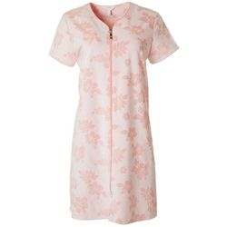 Coral Bay Womens Hibiscus Print Zip Terry Robe