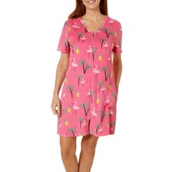 Coral Bay Womens Flamingo Palm Short Sleeve Terry Robe