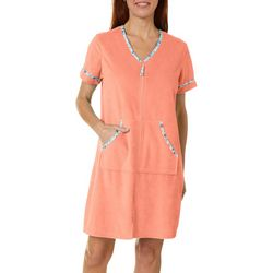 Coral Bay Womens Starfish Trim Zip Up Bath Robe