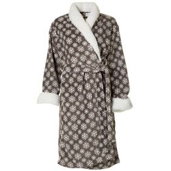 Echo Womens Snowflake Print Plush Collared Robe