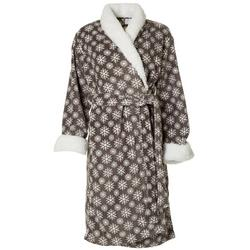Womens Snowflake Print Plush Collared Robe