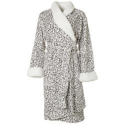 Womens Snow Leopard Print  Plush Collared Robe