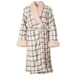 Echo Womens Plaid Plush Collared Robe