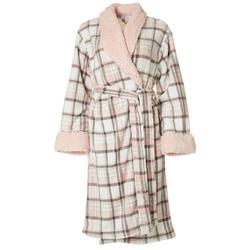 Womens Plaid Plush Collared Robe