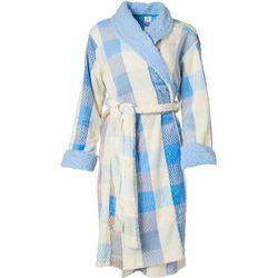 Echo Womens Buffalo Check Plush Collared Robe