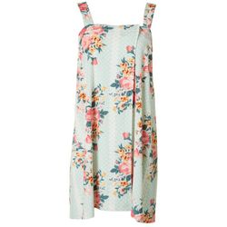 Artology Womens Floral Dot Terry Shower Wrap Robe