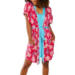 Artology Womens Tile & Floral Belted Wrap Robe Set