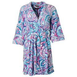Artology Womens Paisley Plush Belted Wrap Robe
