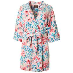 Womens Floral Plush Belted Wrap Robe