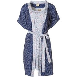 Ink + Ivy Womens India Medallion Nightgown & Robe Set