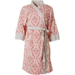 Ink + Ivy Womens Paisley Long Sleeve Light Weight Wrap Robe