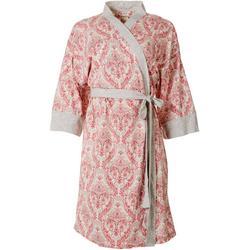 Womens Paisley Long Sleeve Light Weight Wrap Robe
