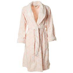 Womens Embossed Plush Long Sleeve Wrap Robe
