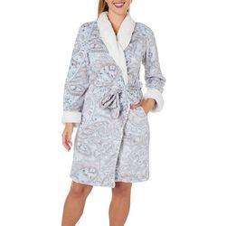 Womens Paisley Plush Long Sleeve Wrap Robe