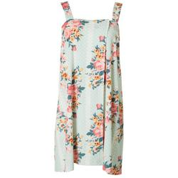 Womens Floral Dot Terry Shower Wrap Robe