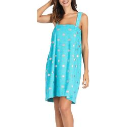 Ink + Ivy Womens Polka Dot Plush Terry Shower Wrap Robe