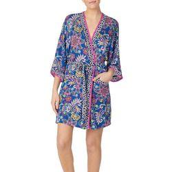 Womens Paisley Kimono Wrap Robe