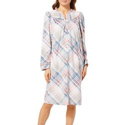 Lissome Lounge Womens Plaid Long Sleeve Duster Robe