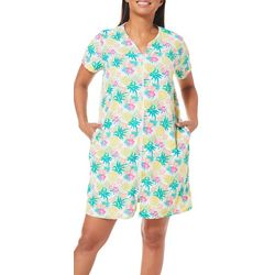 Rene Rofe Womens Tropical Pineapple Print Terry Zip Robe