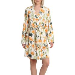 Caribbean Joe Womens Palm Print Wrap Robe