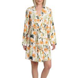 Womens Palm Print Wrap Robe