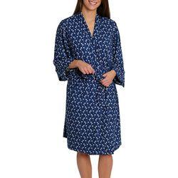 Womens Palm Print Kimono Wrap Robe