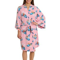 Womens Tropical Print Kimono Wrap Robe