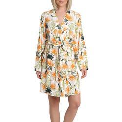Womens Tropical Palm Print Kimono Wrap Robe